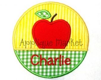 Machine Embroidery Design Applique Apple Circle INSTANT DOWNLOAD