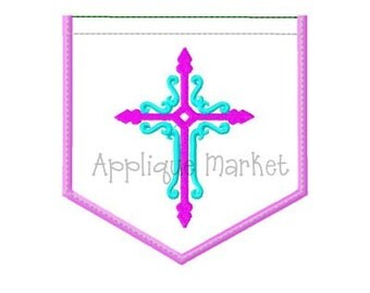 Machine Embroidery Design Applique Appli-Pocket 2 Cross INSTANT DOWNLOAD