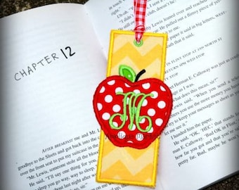 Machine Embroidery Design Applique Apple Bookmark INSTANT DOWNLOAD