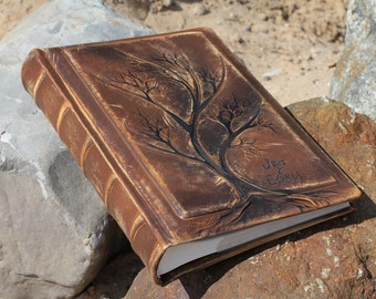 Leather Wedding album 13 x 9  with Tree of Life for 300 photos with custom engraving