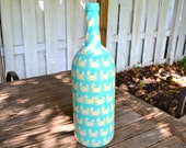 Large Aqua Crab Nautical Inspired Upcycled Glass Bottle