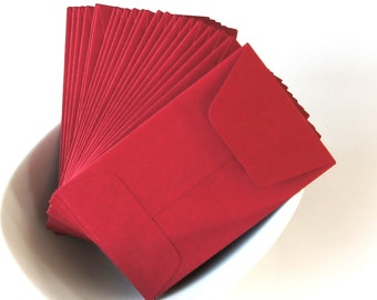 10 Open End Baby Envelopes in RED . 2.25 x 3.5