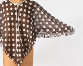 1960s Mod Cape Cotton Organza Brown & White Polka Dot