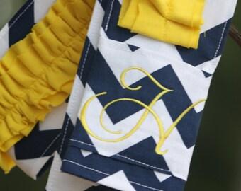 Monogrammed Ruffled Camera Strap Cover - Navy Chevron/ Yellow