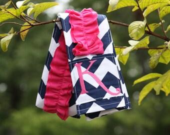 Monogrammed Ruffled Camera Strap Cover - Navy Chevron/ Bright Pink