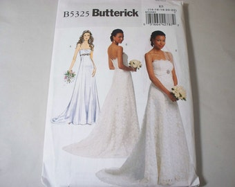 New Butterick Bridal Gown Pattern, B5325 (E5) (14-16-18-20-22) (Free US Shipping)
