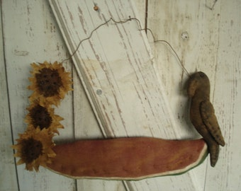 Watermelon with Sunflowers and Crow Soor Hanger, Primitive, Rustic, Crows, Watermelon, Summer, Spring. OFG, FAAP, HAFAIR. Dub