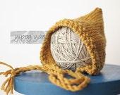 Newborn Knit Hat Baby Pixie Bonnet Gold Golden Mustard Yellow Wool