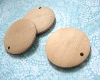 "3 Round wood pendant, unfinished, focal beads, natural 3cm Dia. (1 1/8"")"