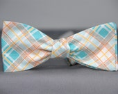 Aqua Blue, White and Orange Plaid  Bow Tie