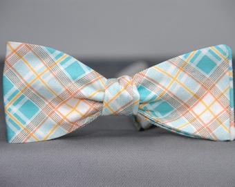 Aqua Blue, White and Orange Plaid  Bow Tie