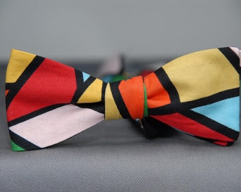 Multicolored Stained Glass  Bow Tie