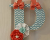 Aqua Blue and Coral Shabby Chic Bow Holder