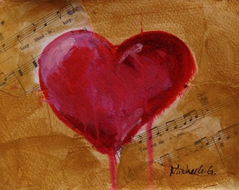 Original Artwork Painting - Red Heart in Gold Background