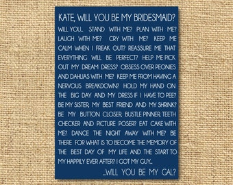 Printable Will you be my bridesmaid Card- Personalized