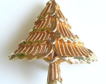 Signed Vintage Collectible Goldtone Pine Christmas Tree Pin Brooch Marked Corel