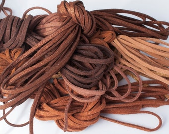 Cocoa Mocha Mix: Faux Suede Leather Cord (Microfiber), 3mm x 7 packs of 15ft per pack (7 different shades) / Faux Suede Lace