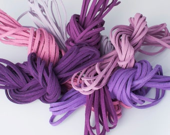 Purple Majesty Mix: Faux Suede Leather Cord (Microfiber), 3mm x 7 packs of 15ft per pack (7 different shades) / Faux Suede Lace