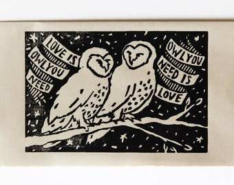 Owl You Need Is Love Block Print