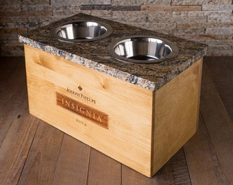 Deluxe Large Insignia Wine Crate Dog Bowl with Granite Top