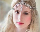 Boho Bridal Headband, , Rhinestone Headband, Wedding Headpiece, Fascinator, Wedding Hair Accessory, Ribbon Bridal Headband