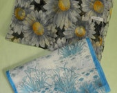 Lot of 2 Vintage Floral Scarves Daisy Sheer with a Black Ground Blue White Garden Floral Italy Avon