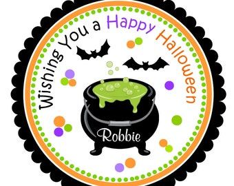 Halloween  Witch Stickers, Witches Cauldron, Personalized Halloween Labels, Favor, Treat Bags - SET OF 12