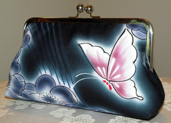 Cotton Kimono Fabric Clutch/Purse/Bag..Bridesmaid Gift..Butterfly/Cherry Blossom/Floral/Navy Blue/Magenta/Silk lined/Bridal..Free Monogram
