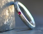 sterling silver ring with flush set stone of your choice - ruby, sapphire, raw white diamond, engagement ring stacking ring