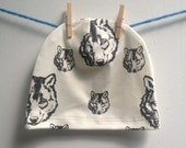 littlefour baby and toddler organic wolf print beanie