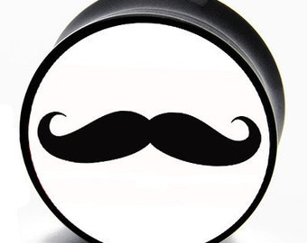 0g (8mm) Ironic Mustache BMA Plugs Single Flare Pair