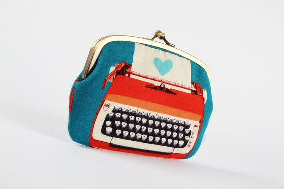Metal frame purse with two sections - Typewriters in blue and red - Maxi siamese / Retro vintage inspired / Modern / Peach grey medium blue