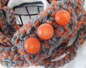 SALE Scarf, Chain Loops Infinity, Heather Grey and Carrot, Ready to Ship