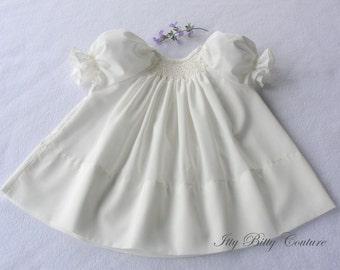 Smocked Baby Dress,  Smocked christening gown, Ivory Bishop Dress