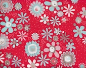 SALE Adornit Red Daisy Fabric from the Nested Collection sold in 1/2 yard increments