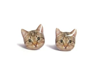 Cute  Brown Short Hair  Tabby Cat Kitten Stud Earrings - A025ER-C01  Made To Order