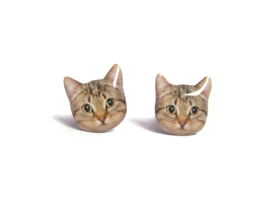 Cute  Brown Short Hair  Tabby Cat Kitten Stud Earrings - A14E84  Made To Order - Marked Down Price