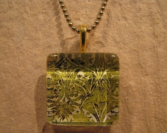 "William Morris Green Bluebell Fabric Square Glass Pendant with 24"" Ball Chain Necklace Arts and Crafts Jewelry"