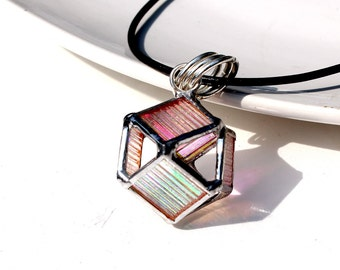 3D Dichroic Cube Octahedron Necklace - Stained Glass Jewelry
