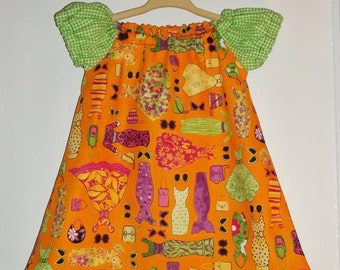 Retro Fashion and Gingham Orange and Lime Girls Dress Size 12-18 Months Hand Made  Ready To Ship  Spring Summer and Party Dress