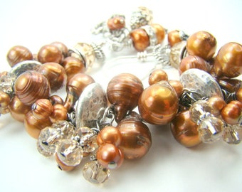 RESERVED for Rene...Brown pearl bracelet, chunky pearl statement bracelet, pearl charm bracelet