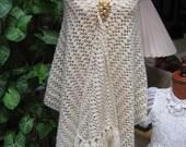 Vintage wide narrow beige fringed shawl, gold thread yarn fringed wrap, beige gold crochet wool scarf, cool weather wrap shawl