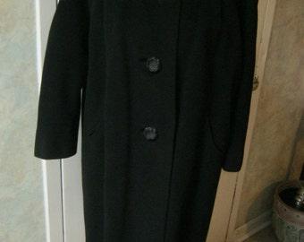 Vintage lassic black imported cashmere woman's coat, hand tailored round neck black cashmere coat Bernhard Altman size M or L