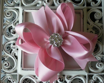 NEW ITEM----Mini Boutique Doubled Layered Hair Bow Clip with RHINESTONES-----Pink Satin---
