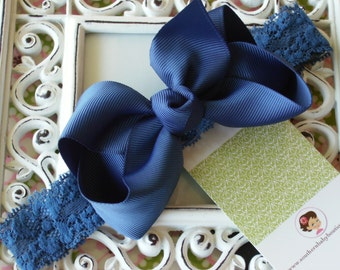NEW ITEM----Boutique Baby Toddler Girl Hair Bow Clip with Lace Headband----NAVY----
