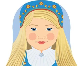 Norwegian Wall Art Print features cultural traditional dress drawn in a Russian matryoshka nesting doll shape