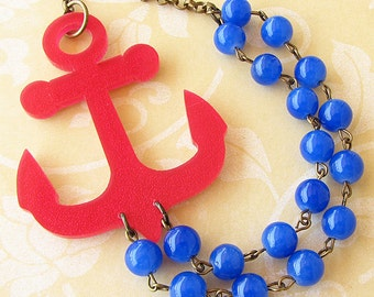 Anchor Necklace Nautical Jewelry Statement Necklace Red Necklace Royal Blue Necklace Anchor Jewelry Nautical Necklace Bib Necklace