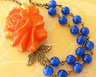Flower Necklace Statement Necklace Blue Jewelry Orange Necklace Beaded Necklace Bridesmaid Gift