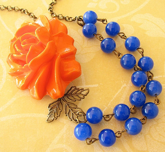 Flower Necklace Statement Necklace Royal Blue Jewelry Bridesmaid Necklace Orange Necklace Double Strand Leaf Necklace Maid of Honor Bib