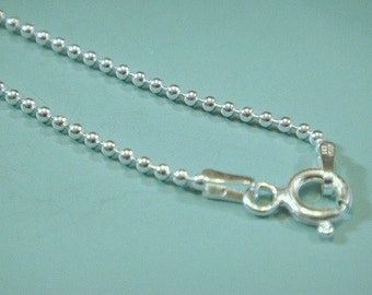 1.5mm Ball Chain with Clasp, Sterling Silver Ball Chain FINISHED Necklace Chain 16 inch, 1.5mm  , 6mm spring ring clasp